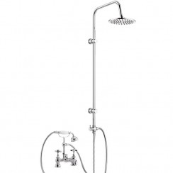 Beaumont Luxury 3/4 Deck Bath Shower Mixer Tap with 3 Way Round Rigid Riser Rail Kit