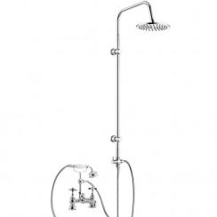 Beaumont Luxury 3/4 Deck Bath Shower Mixer Tap with 3 Way Round Rigid Riser Rail Kit