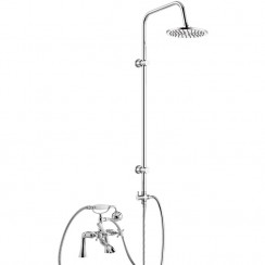 Beaumont Luxury 3/4 Bath Shower Mixer Tap with 3 Way Round Rigid Riser Rail Kit