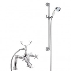 Beaumont 1/2 Bath Shower Mixer Tap with Traditional Slider Rail Shower Kit