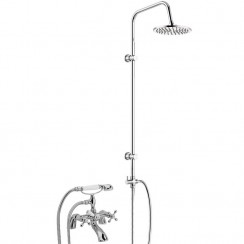 Belmont Bath Shower Mixer Tap, Small Handset with 3 Way Round Rigid Riser Rail Kit