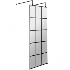 Hudson Reed 760mm Freestanding Black Framed Wetroom Screen