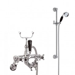 Topaz Black Crosshead Wall Mounted Bath Shower Mixer - Hex Collar with Traditional Slider Rail Shower Kit