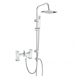 Blake Bath Shower Mixer Tap with 3 Way Square Rigid Riser Rail Kit