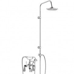Bloomsbury Bath Shower Mixer Tap with 3 Way Round Rigid Riser Rail Kit