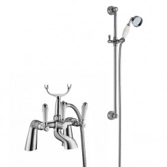 Bloomsbury Bath Shower Mixer Tap with Traditional Slider Rail Shower Kit