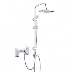 Boston Bath Shower Mixer Tap with 3 Way Square Rigid Riser Rail Kit