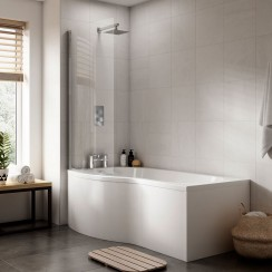 Complete B-Shape Shower Bath 1500 x 900mm LH Lifestyle