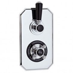 Topaz Black Twin Thermostatic Concealed Shower Valve
