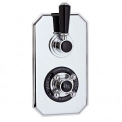Topaz Black Twin Concealed Shower Valve With Diverter