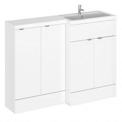 Hudson Reed - Gloss White 1200mm Combination Vanity Unit, WC Unit & L Shaped Basin - Full Depth - R H