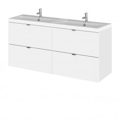 Hudson Reed - Gloss White 1200mm Wall Hung Combination Vanity Unit & Twin Basin - Full Depth