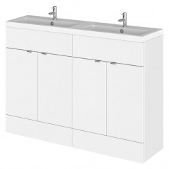Hudson Reed - Gloss White 1200mm Combination Vanity Unit & Twin Basin - Full Depth