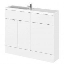 Gloss White 1000mm Combination Vanity Unit, WC Unit & Basin - Slimline - CBI142