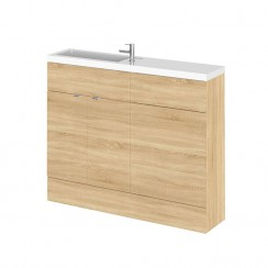 Hudson Reed - Natural Oak 1100mm Combination Vanity Unit, WC Unit & Basin - Slimline