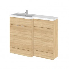 Hudson Reed - Natural Oak 1100mm Combination Vanity Unit, WC Unit & L Shaped Basin - Full Depth - L H