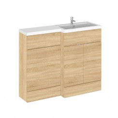 Hudson Reed - Natural Oak 1100mm Combination Vanity Unit, WC Unit & L Shaped Basin - Full Depth - R H