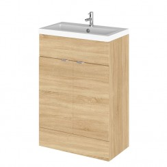 Hudson Reed - Natural Oak 600mm Combination Vanity Unit & Basin - Full Depth