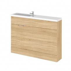 Hudson Reed - Natural Oak 1200mm Combination Vanity Unit, WC Unit & Basin - Slimline