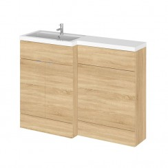 Hudson Reed - Natural Oak 1200mm Combination Vanity Unit, WC Unit & L Shaped Basin - Full Depth - L H