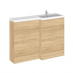 Hudson Reed - Natural Oak 1200mm Combination Vanity Unit, WC Unit & L Shaped Basin - Full Depth - R H