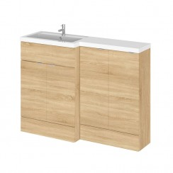 Hudson Reed - Natural Oak 1200mm Combination Vanity Unit, Basin Unit & L Shaped Basin - Full Depth - L H