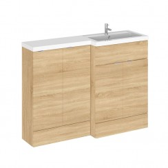 Hudson Reed - Natural Oak 1200mm Combination Vanity Unit, Base Unit & L Shaped Basin - Full Depth - R H