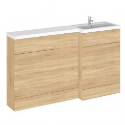 Hudson Reed - Natural Oak 1500mm Combination Vanity Unit, Base Unit, WC Unit & L Shaped Basin - Full Depth - R H