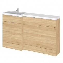 Hudson Reed - Natural Oak 1500mm Combination Vanity Unit, Base Unit, WC Unit & L Shaped Basin - Full Depth - L H