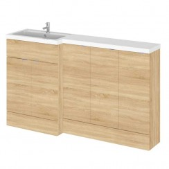 Hudson Reed - Natural Oak 1500mm Combination Vanity Unit, Base Unit x 3 & L Shaped Basin - Full Depth - L H
