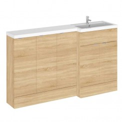 Hudson Reed - Natural Oak 1500mm Combination Vanity Unit, Base Unit x 3 & L Shaped Basin - Full Depth - R H