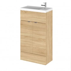 Hudson Reed - Natural Oak 500mm Combination Vanity Unit & Basin - Slimline