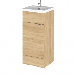Hudson Reed - Natural Oak 400mm Combination Vanity Unit & Basin - Full Depth
