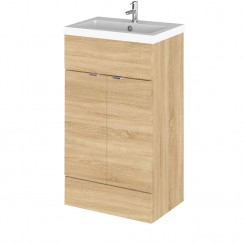 Hudson Reed - Natural Oak 500mm Combination Vanity Unit & Basin - Full Depth