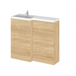 Hudson Reed - Natural Oak 1000mm Combination Vanity Unit, WC Unit & L Shaped Basin - Full Depth - L H