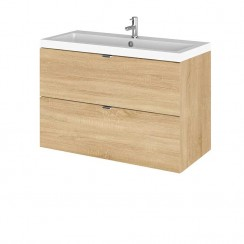 Hudson Reed - Natural Oak 800mm Wall Hung Combination Vanity Unit & Basin - Full Depth