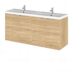 Hudson Reed - Natural Oak 1200mm Wall Hung Combination Vanity Unit & Twin Basin - Full Depth
