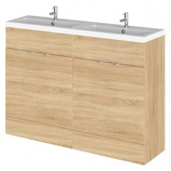 Hudson Reed - Natural Oak 1200mm Combination Vanity Unit & Twin Basin - Full Depth