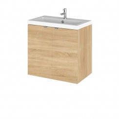 Hudson Reed - Natural Oak 600mm Wall Hung Combination Vanity Unit & Basin - Full Depth