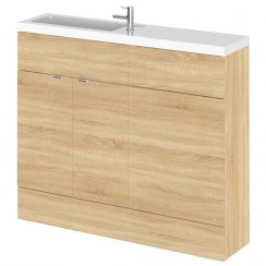 Hudson Reed - Natural Oak 1000mm Combination Vanity Unit, WC Unit & Basin - Slimline
