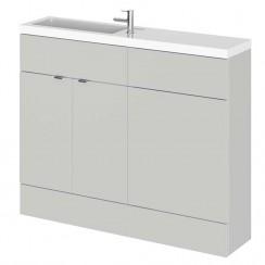 Hudson Reed - Gloss Grey Mist 1100mm Combination Vanity Unit, WC Unit & Basin - Slimline