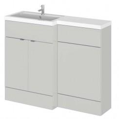 Hudson Reed - Gloss Grey Mist 1100mm Combination Vanity Unit, WC Unit & L Shaped Basin - Full Depth - L H