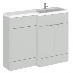 Hudson Reed - Gloss Grey Mist 1100mm Combination Vanity Unit, WC Unit & L Shaped Basin - Full Depth - R H
