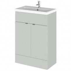 Hudson Reed - Gloss Grey Mist 600mm Combination Vanity Unit & Basin - Full Depth