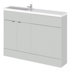 Hudson Reed - Gloss Grey Mist 1200mm Combination Vanity Unit, WC Unit & Basin - Slimline