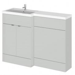 Hudson Reed - Gloss Grey Mist 1200mm Combination Vanity Unit, WC Unit & L Shaped Basin - Full Depth - L H