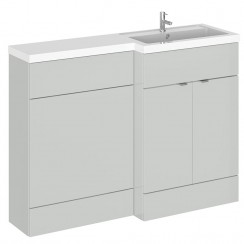 Hudson Reed - Gloss Grey Mist 1200mm Combination Vanity Unit, WC Unit & L Shaped Basin - Full Depth - R H