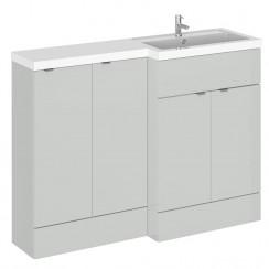 Hudson Reed - Gloss Grey Mist 1200mm Combination Vanity Unit, Base Unit & L Shaped Basin - Full Depth - R H Dimensions