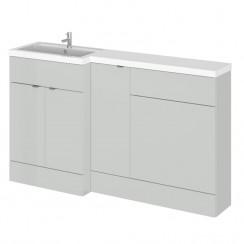 Hudson Reed - Gloss Grey Mist 1500mm Combination Vanity Unit, Base Unit, WC Unit & L Shaped Basin - Full Depth - L H