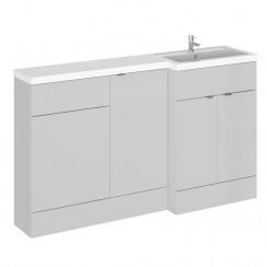 Hudson Reed - Gloss Grey Mist 1500mm Combination Vanity Unit, Base Unit, WC Unit & L Shaped Basin - Full Depth - R H